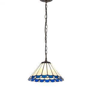 Lichfield Lighting St John 1 Light Downlighter Pendant E27 With 30cm Tiffany Shade, Blue/Credlock/Crystal/Aged Antique Bras photo 1