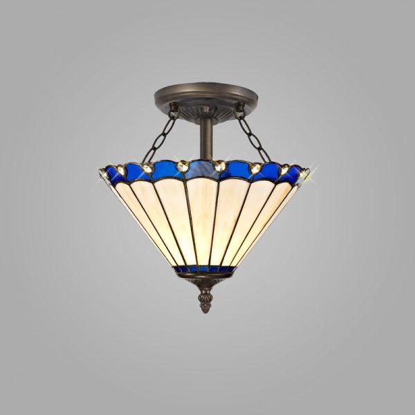 Lichfield Lighting St John 2 Light Semi Ceiling E27 With 30cm Tiffany Shade, Blue/Credlock/Crystal/Aged Antique Brass photo 2
