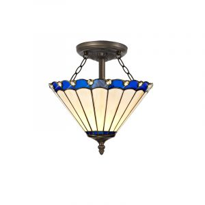 Lichfield Lighting St John 2 Light Semi Ceiling E27 With 30cm Tiffany Shade, Blue/Credlock/Crystal/Aged Antique Brass photo 1
