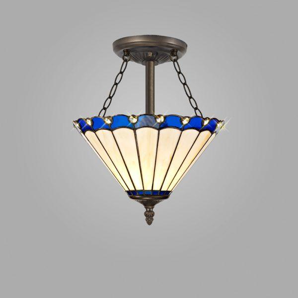 Lichfield Lighting St John 3 Light Semi Ceiling E27 With 30cm Tiffany Shade, Blue/Credlock/Crystal/Aged Antique Brass photo 2