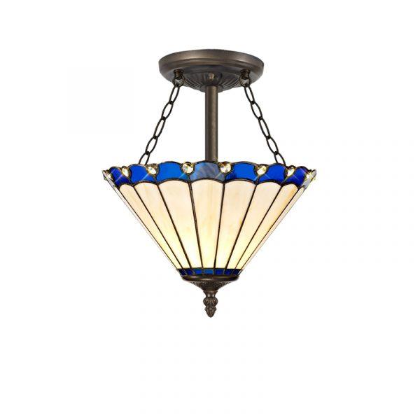 Lichfield Lighting St John 3 Light Semi Ceiling E27 With 30cm Tiffany Shade, Blue/Credlock/Crystal/Aged Antique Brass photo 1