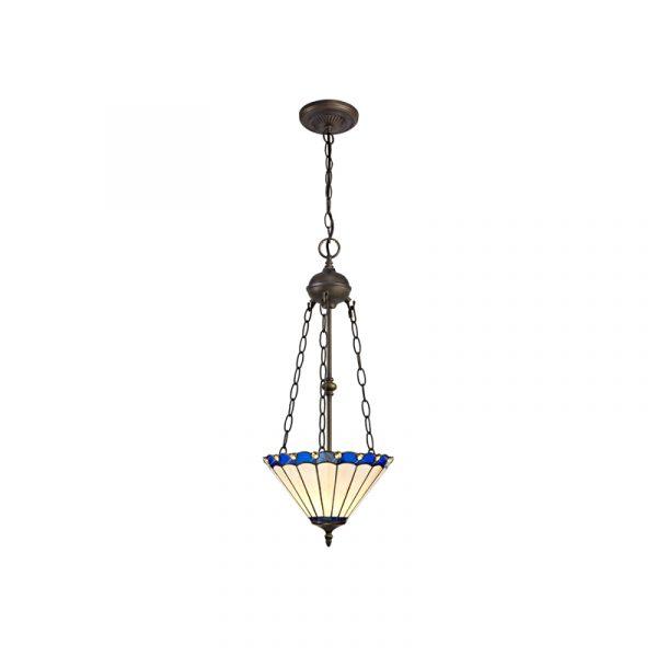 Lichfield Lighting St John 2 Light Uplighter Pendant E27 With 30cm Tiffany Shade, Blue/Credlock/Crystal/Aged Antique Brass photo 1
