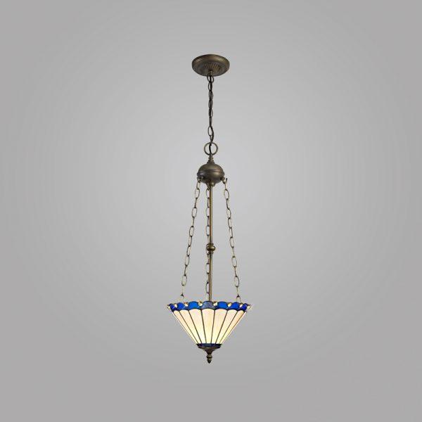 Lichfield Lighting St John 3 Light Uplighter Pendant E27 With 30cm Tiffany Shade, Blue/Credlock/Crystal/Aged Antique Brass photo 2