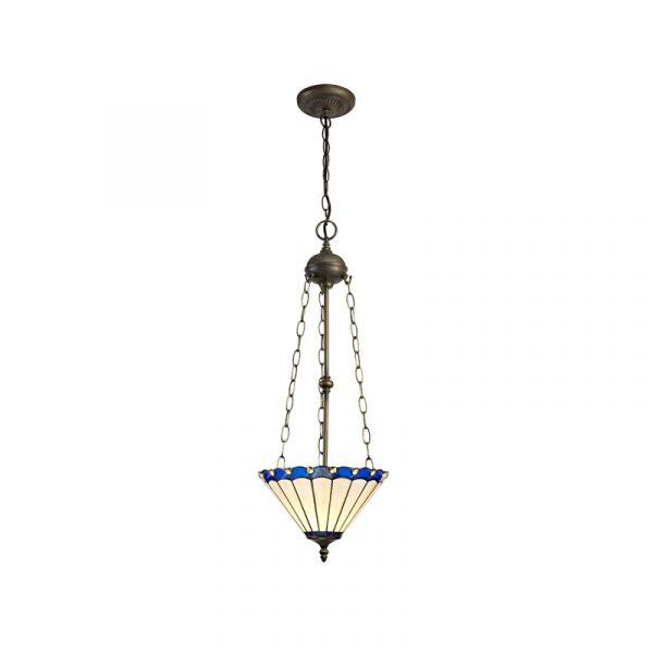 Lichfield Lighting St John 3 Light Uplighter Pendant E27 With 30cm Tiffany Shade, Blue/Credlock/Crystal/Aged Antique Brass photo 1