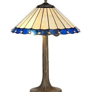Lichfield Lighting St John 2 Light Tree Like Table Lamp E27 With 40cm Tiffany Shade, Blue/Credlock/Crystal/Aged Antique Brass photo 1
