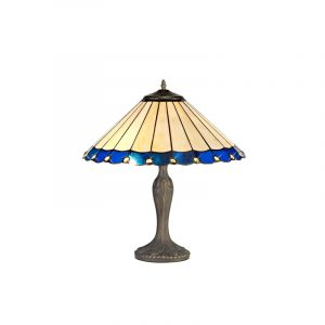 Lichfield Lighting St John 2 Light Curved Table Lamp E27 With 40cm Tiffany Shade, Blue/Credlock/Crystal/Aged Antique Brass photo 1