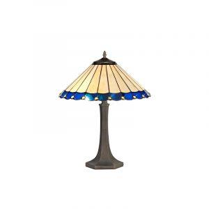 Lichfield Lighting St John 2 Light Octagonal Table Lamp E27 With 40cm Tiffany Shade, Blue/Credlock/Crystal/Aged Antique Brass photo 1