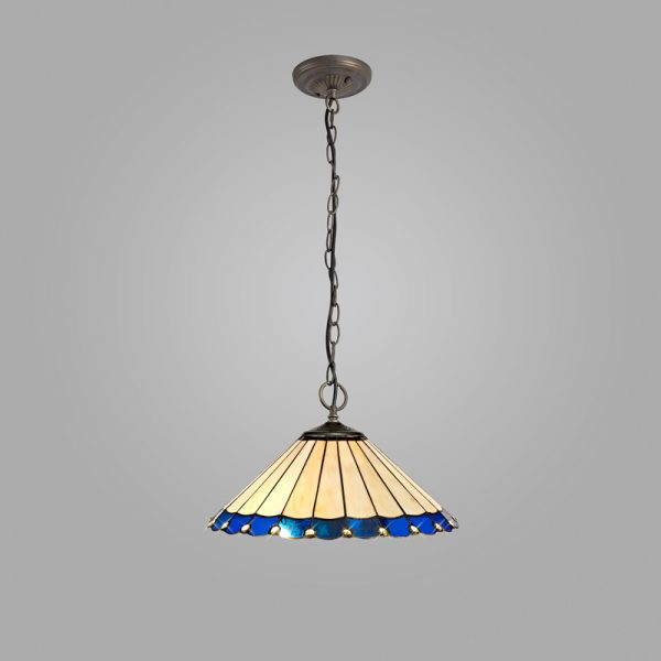 Lichfield Lighting St John 3 Light Downlighter Pendant E27 With 40cm Tiffany Shade, Blue/Credlock/Crystal/Aged Antique Brass photo 2