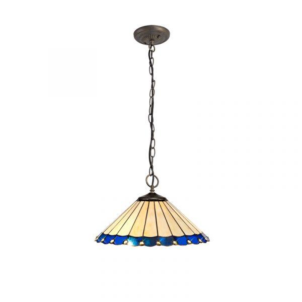 Lichfield Lighting St John 3 Light Downlighter Pendant E27 With 40cm Tiffany Shade, Blue/Credlock/Crystal/Aged Antique Brass photo 1