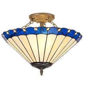 Lichfield Lighting St John 3 Light Semi Ceiling E27 With 40cm Tiffany Shade, Blue/Credlock/Crystal/Aged Antique Brass photo 1