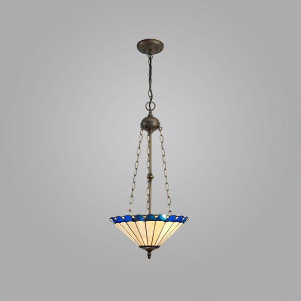 Lichfield Lighting St John 3 Light Uplighter Pendant E27 With 40cm Tiffany Shade, Blue/Credlock/Crystal/Aged Antique Brass photo 2