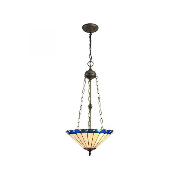 Lichfield Lighting St John 3 Light Uplighter Pendant E27 With 40cm Tiffany Shade, Blue/Credlock/Crystal/Aged Antique Brass photo 1