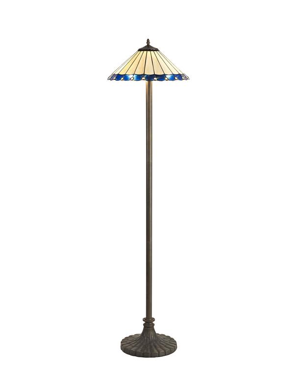 Lichfield Lighting St John 2 Light Stepped Design Floor Lamp E27 With 40cm Tiffany Shade, Blue/Credlock/Crystal/Aged Antique Brass photo 1