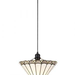 Lichfield Lighting St John 1 Light Uplighter Pendant E27 With 30cm Tiffany Shade, Grey/Credlock/Crystal/Black photo 1