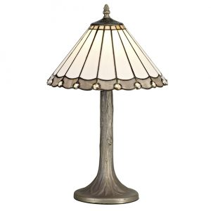 Lichfield Lighting St John 1 Light Tree Like Table Lamp E27 With 30cm Tiffany Shade, Grey/Credlock/Crystal/Aged Antique Brass photo 1