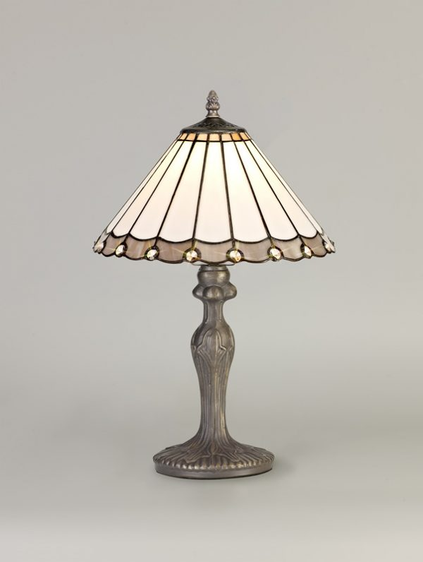 Lichfield Lighting St John 1 Light Curved Table Lamp E27 With 30cm Tiffany Shade, Grey/Credlock/Crystal/Aged Antique Brass photo 2