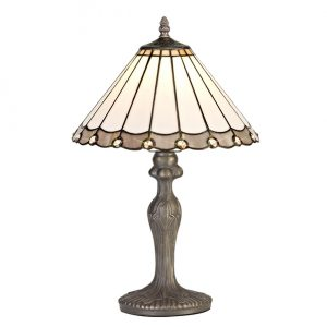 Lichfield Lighting St John 1 Light Curved Table Lamp E27 With 30cm Tiffany Shade, Grey/Credlock/Crystal/Aged Antique Brass photo 1