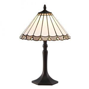 Lichfield Lighting St John 1 Light Octagonal Table Lamp E27 With 30cm Tiffany Shade, Grey/Credlock/Crystal/Aged Antique Brass photo 1