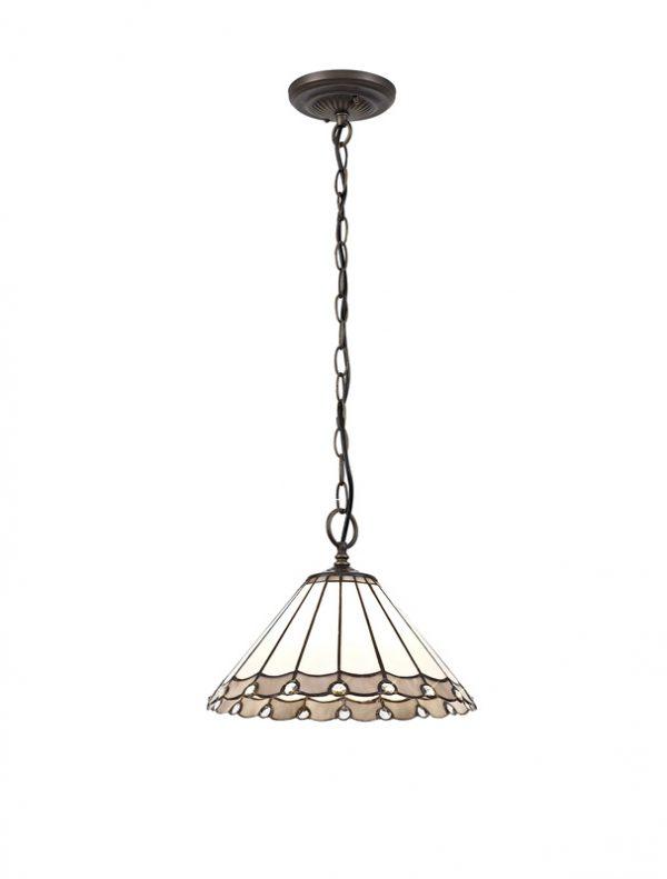 Lichfield Lighting St John 1 Light Downlighter Pendant E27 With 30cm Tiffany Shade, Grey/Credlock/Crystal/Aged Antique Brass photo 1