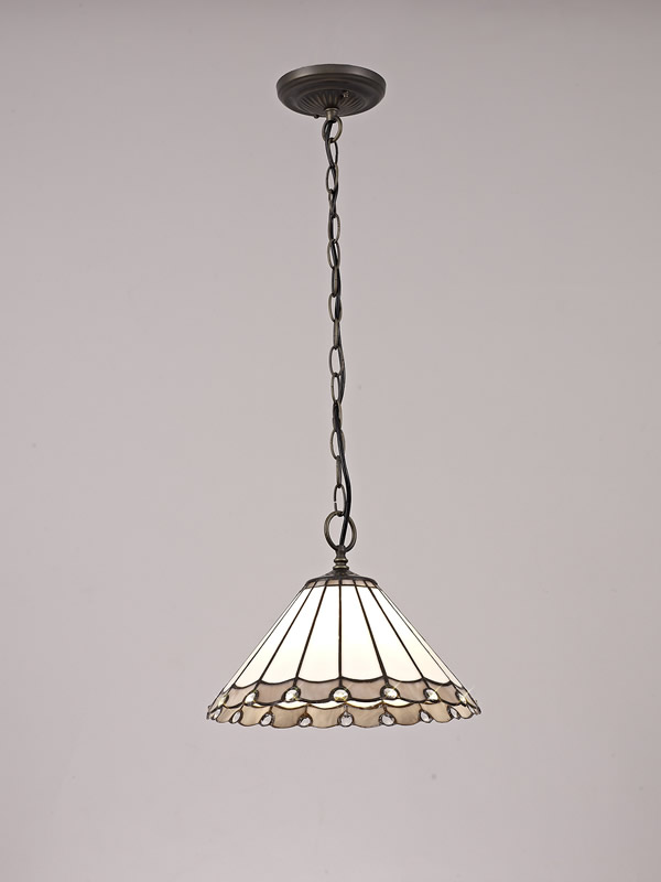 Lichfield Lighting St John 1 Light Downlighter Pendant E27 With 30cm Tiffany Shade, Grey/Credlock/Crystal/Aged Antique Brass photo 2
