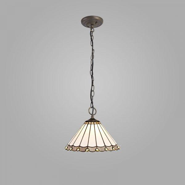 Lichfield Lighting St John 3 Light Downlighter Pendant E27 With 30cm Tiffany Shade, Grey/Credlock/Crystal/Aged Antique Brass photo 2