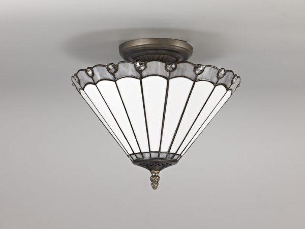 Lichfield Lighting St John 2 Light Semi Ceiling E27 With 30cm Tiffany Shade, Grey/Credlock/Crystal/Aged Antique Brass photo 2