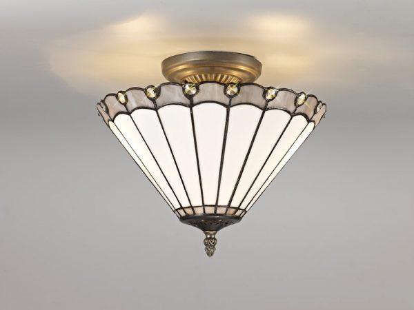 Lichfield Lighting St John 2 Light Semi Ceiling E27 With 30cm Tiffany Shade, Grey/Credlock/Crystal/Aged Antique Brass photo 3