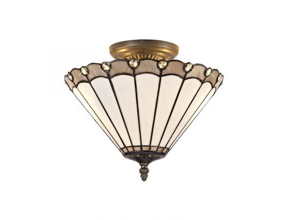 Lichfield Lighting St John 2 Light Semi Ceiling E27 With 30cm Tiffany Shade, Grey/Credlock/Crystal/Aged Antique Brass photo 1