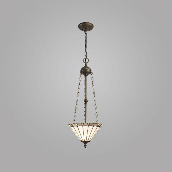 Lichfield Lighting St John 3 Light Uplighter Pendant E27 With 30cm Tiffany Shade, Grey/Credlock/Crystal/Aged Antique Brass photo 2