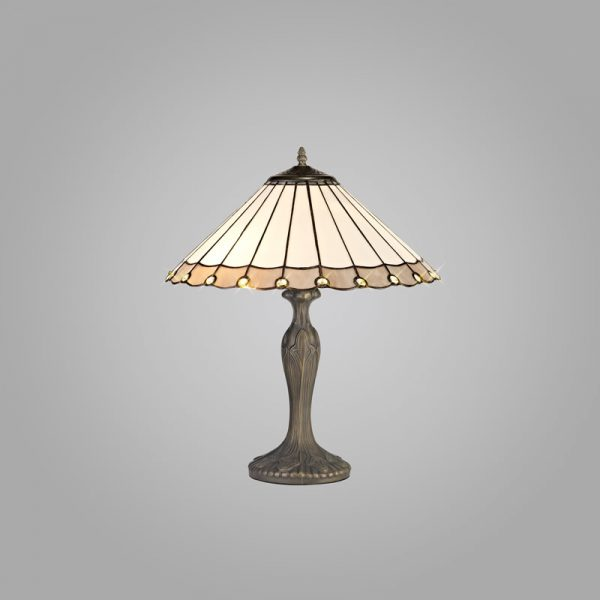 Lichfield Lighting St John 2 Light Curved Table Lamp E27 With 40cm Tiffany Shade, Grey/Credlock/Crystal/Aged Antique Brass photo 2