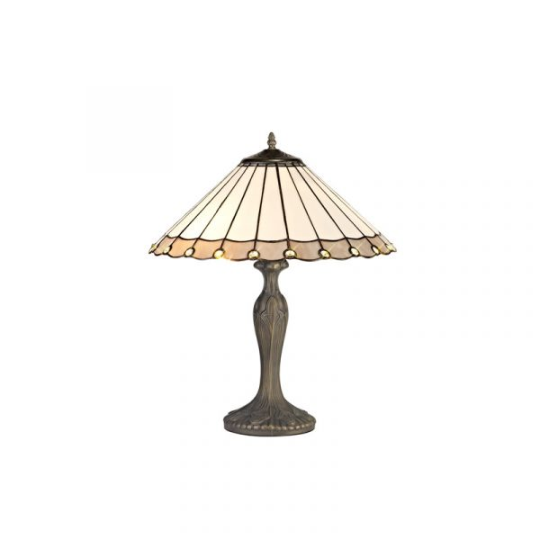 Lichfield Lighting St John 2 Light Curved Table Lamp E27 With 40cm Tiffany Shade, Grey/Credlock/Crystal/Aged Antique Brass photo 1