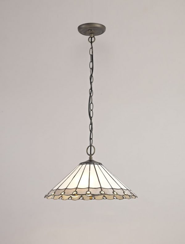 Lichfield Lighting St John 3 Light Downlighter Pendant E27 With 40cm Tiffany Shade, Grey/Credlock/Crystal/Aged Antique Brass photo 2