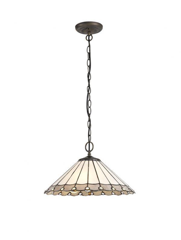 Lichfield Lighting St John 3 Light Downlighter Pendant E27 With 40cm Tiffany Shade, Grey/Credlock/Crystal/Aged Antique Brass photo 1