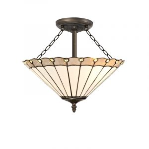 Lichfield Lighting St John 3 Light Semi Ceiling E27 With 40cm Tiffany Shade, Grey/Credlock/Crystal/Aged Antique Brass photo 1