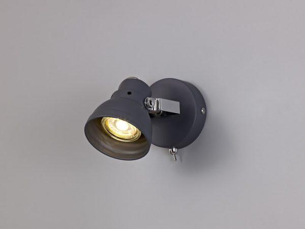 Lichfield Lighting Tanyard Adjustable Switched Spotlight, 1 x GU10 (Max 10W LED), Matt Grey/Polished Chrome photo 4