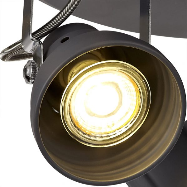 Lichfield Lighting Tanyard Adjustable Round Spotlight, 3 x GU10 (Max 10W LED), Matt Grey/Polished Chrome photo 2