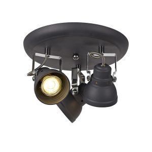 Lichfield Lighting Tanyard Adjustable Round Spotlight, 3 x GU10 (Max 10W LED), Matt Grey/Polished Chrome photo 1