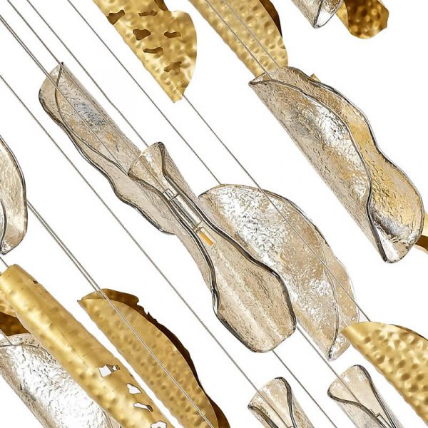 Lichfield Lighting Tewe Pendant 5M, 21 x G9, Brass Metal Shade & Cognac Glass photo 3