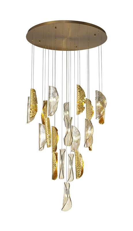 Lichfield Lighting Tewe Pendant 5M, 21 x G9, Brass Metal Shade & Cognac Glass photo 1