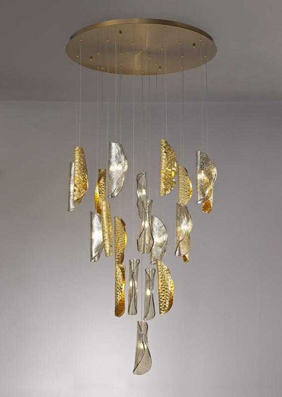 Lichfield Lighting Tewe Pendant 5M, 21 x G9, Brass Metal Shade & Cognac Glass photo 5