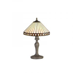Lichfield Lighting Thistley 1 Light Curved Table Lamp E27 With 30cm Tiffany Shade, Amber/Credlock/Crystal/Aged Antique Brass photo 1