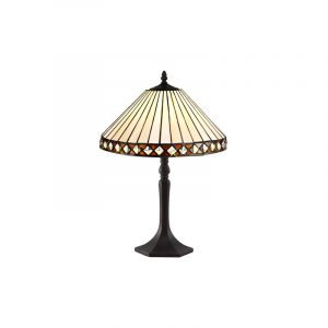 Lichfield Lighting Thistley 1 Light Octagonal Table Lamp E27 With 30cm Tiffany Shade, Amber/Credlock/Crystal/Aged Antique Brass photo 1