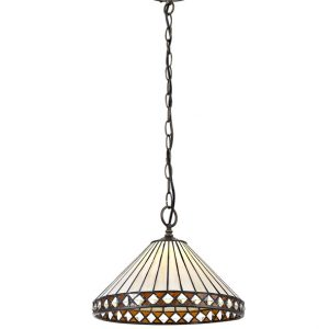 Lichfield Lighting Thistley 1 Light Downlighter Pendant E27 With 30cm Tiffany Shade, Amber/Credlock/Crystal/Aged Antique Brass photo 1