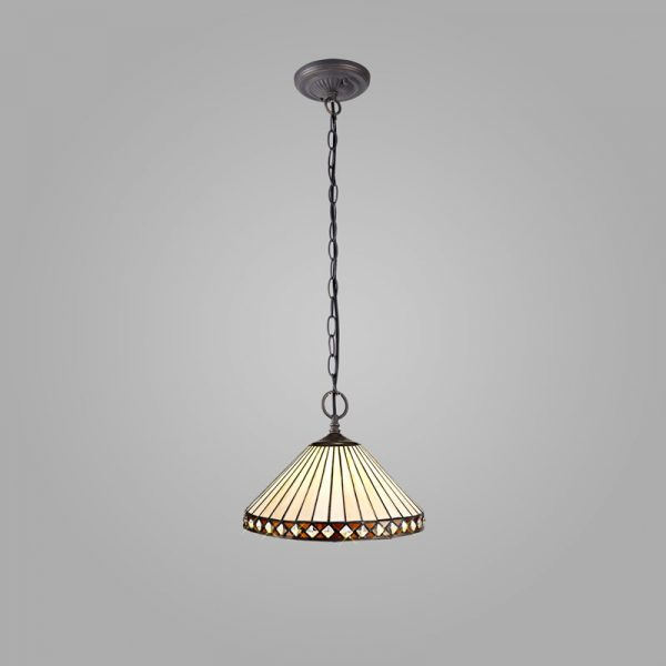 Lichfield Lighting Thistley 2 Light Downlighter Pendant E27 With 30cm Tiffany Shade, Amber/Credlock/Crystal/Aged Antique Brass photo 2
