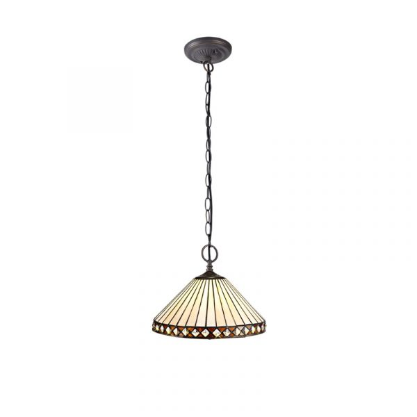 Lichfield Lighting Thistley 2 Light Downlighter Pendant E27 With 30cm Tiffany Shade, Amber/Credlock/Crystal/Aged Antique Brass photo 1