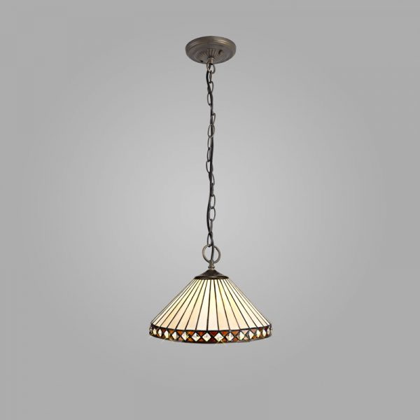 Lichfield Lighting Thistley 3 Light Downlighter Pendant E27 With 30cm Tiffany Shade, Amber/Credlock/Crystal/Aged Antique Brass photo 2