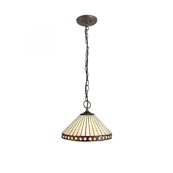 Lichfield Lighting Thistley 3 Light Downlighter Pendant E27 With 30cm Tiffany Shade, Amber/Credlock/Crystal/Aged Antique Brass photo 1