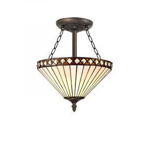 Lichfield Lighting Thistley 3 Light Semi Ceiling E27 With 30cm Tiffany Shade, Amber/Credlock/Crystal/Aged Antique Brass photo 1