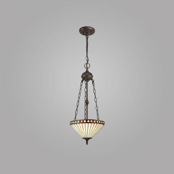 Lichfield Lighting Thistley 2 Light Uplighter Pendant E27 With 30cm Tiffany Shade, Amber/Credlock/Crystal/Aged Antique Brass photo 2