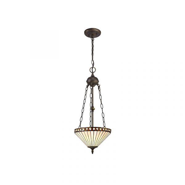 Lichfield Lighting Thistley 2 Light Uplighter Pendant E27 With 30cm Tiffany Shade, Amber/Credlock/Crystal/Aged Antique Brass photo 1